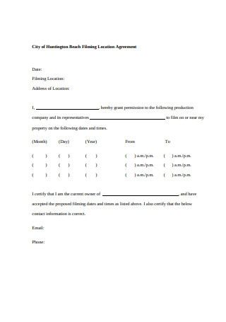Film Location Agreement Format