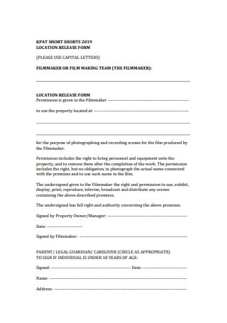 Film Location Release Form Example