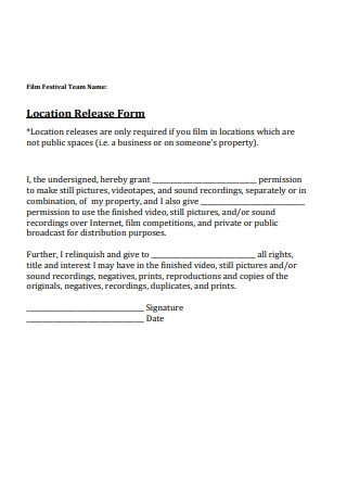 Film Location Release Form Sample