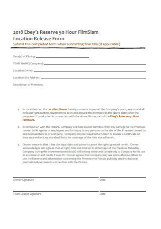 Film Location Release Form in PDF