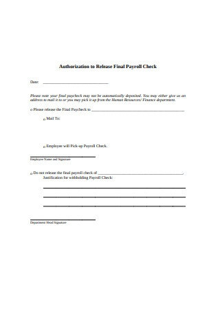 Final Payroll Check Form