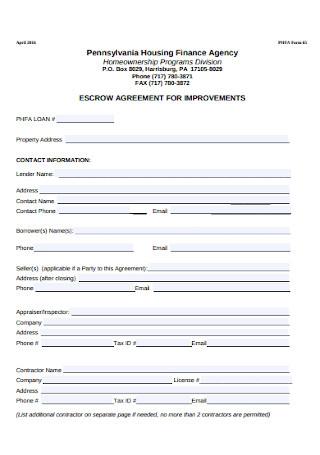 Finance Agency Escrow Agreement