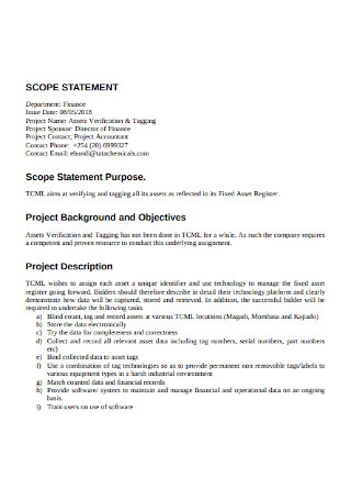 Finance Department Project Scope Statement