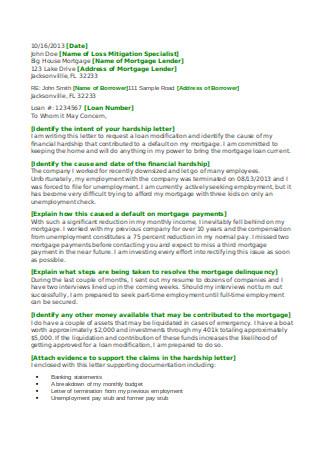 Financial Hardship Letter for Mortgage