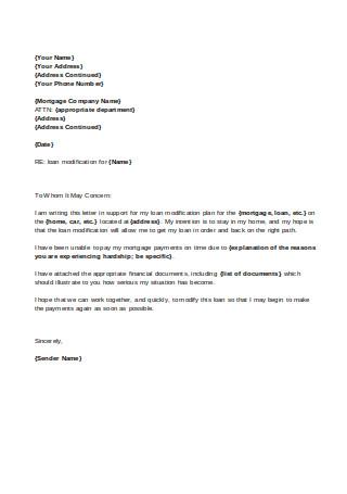 Financial Hardship Letter on Loan