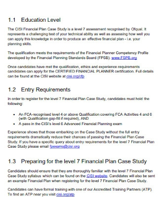 Financial Plan Case Study