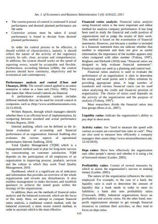 Financial Ratios Analysis and Balanced Scorecard