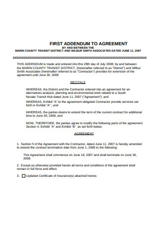 First Addendum to Contract