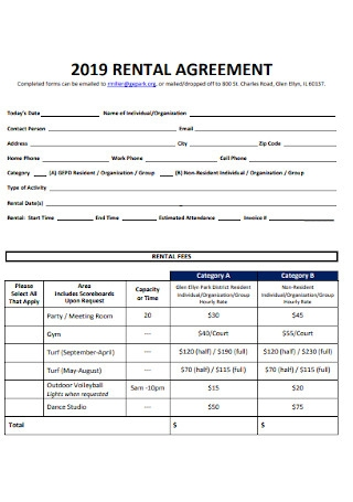 Fitness Center Rental Agreement