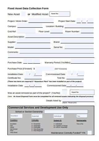 Fixed Asset Data Collection Form