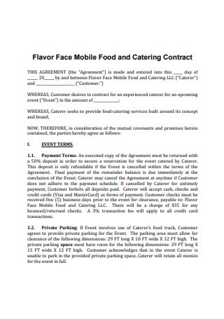 Flavor Face Catering Contract Agreement