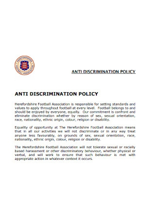FootBall Association Anti discrimination Policy