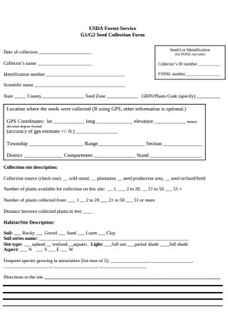 Forest Service Seed Collection Form