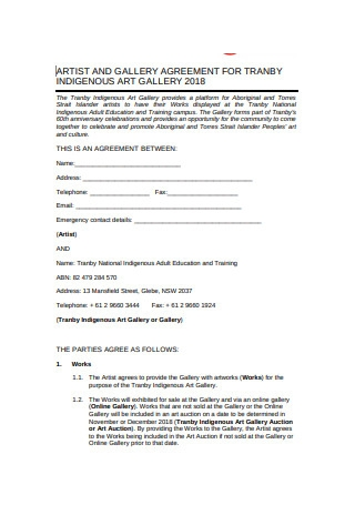 Formal Artist Agreement Example
