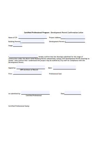Formal Confirmation Letter Sample