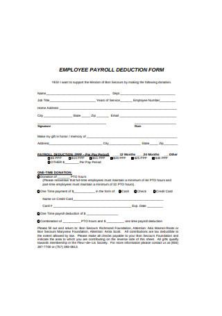 Formal Employee Payroll Deduction Form