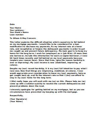 Formal Financial Hardship Letter
