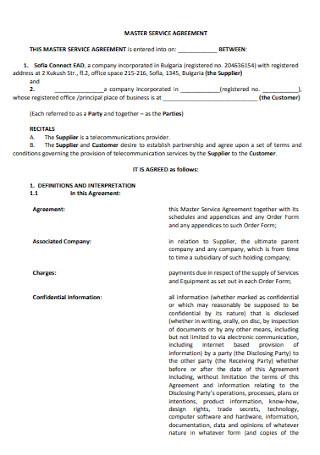 Formal Master Service Agreement