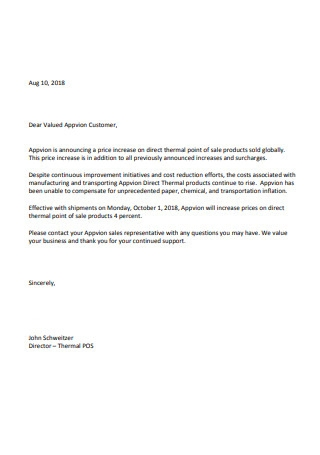 Formal Price Increase Letter