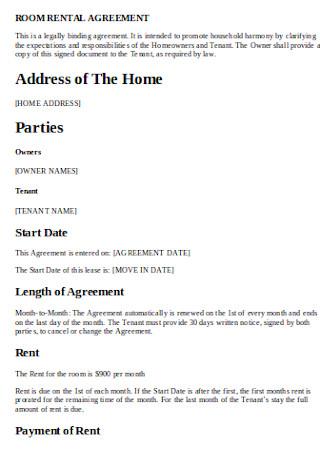 Formal Rental Room Agreement