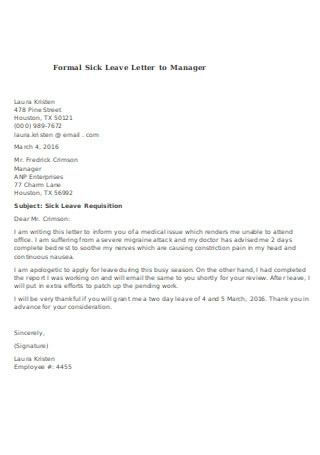 Formal Sick Leave Letter to Manager