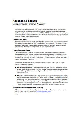 Formal Sick Leave