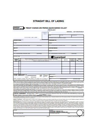 Formal Straight Bill of Lading Form