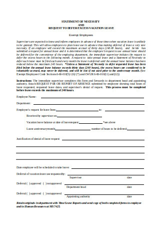 Formal Vacation Defer Request Letter