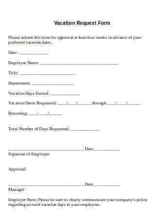 Formal Vacation Request Form