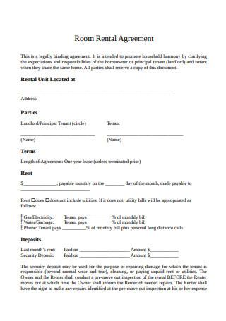 Format of Room Rental Agreement