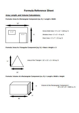 Formula Reference Sheet