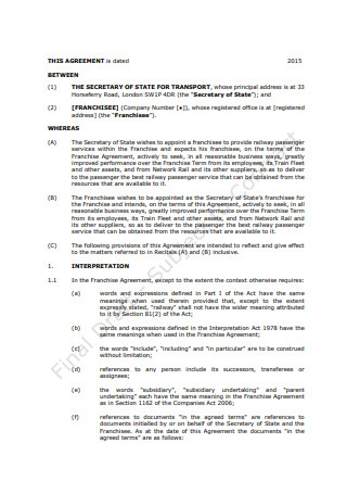 Franchise Agreement Example