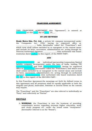 Franchise Agreement Sample