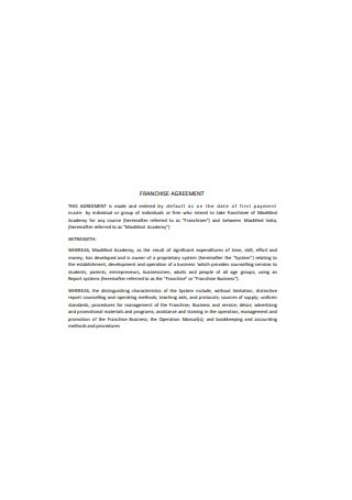 Franchise Agreement in PDF