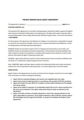 Freight Broker Sales Agent Agreement