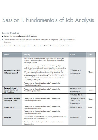 Fundamentals of Job Analysis