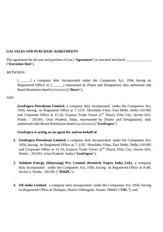 Gas Sales and Purchasae Agreement
