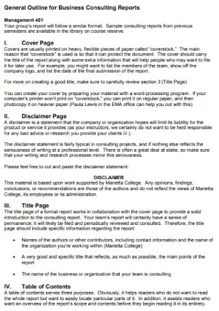 General Outline for Business Consulting Reports