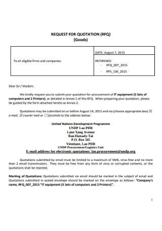 Goods Request for Quatation Template