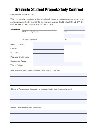Graduate Student Project Contract