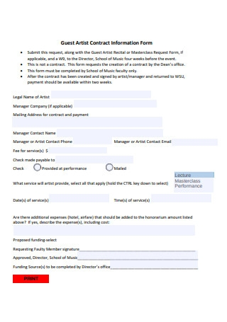 Guest Artist Contract Information Form