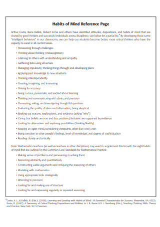 Habits of Mind Reference Page