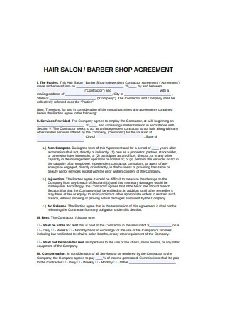 Hair Salon Booth Rent Agreement Sample