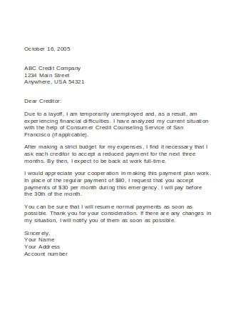 Hardship Letter for Creditors