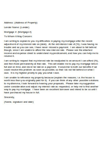 Hardship Letter of Example