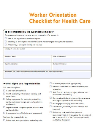Health Care Worker Orientation Checklist