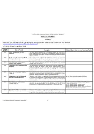 Health Insurance Table of Content