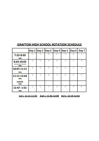 High School Rotation Schedule Format