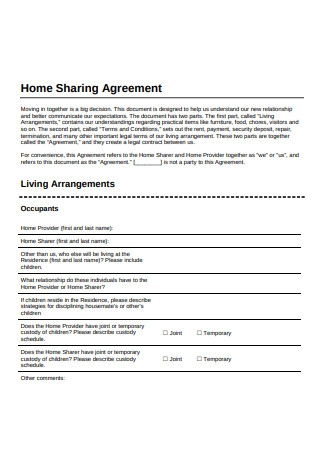 Home Sharing Agreement Sample