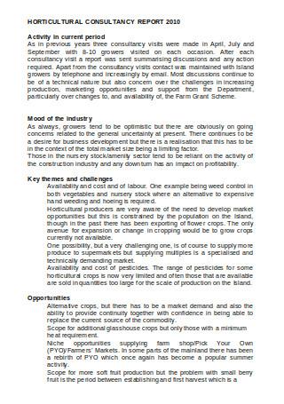 Horticultural Consultancy Report